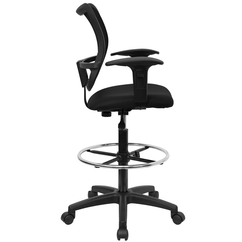 Chairs Mid Back Mesh Drafting Chair With Black Fabric Seat And Height Adju