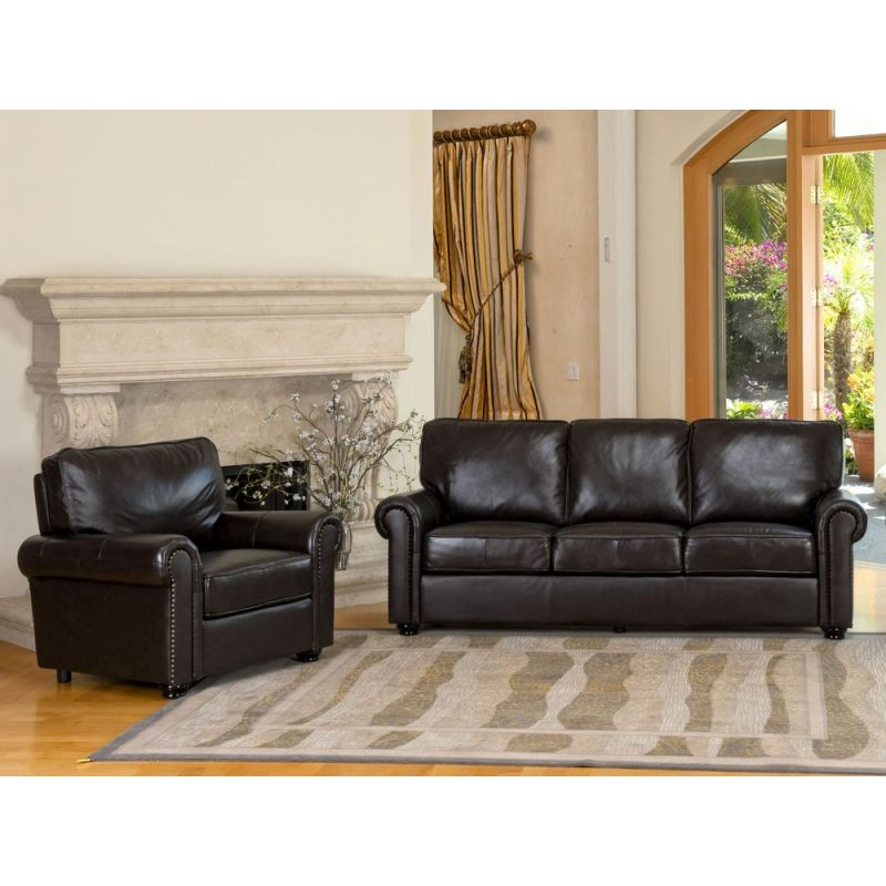 london 2 pc leather sofa set by abbyson living ch 1918 brn 3 1
