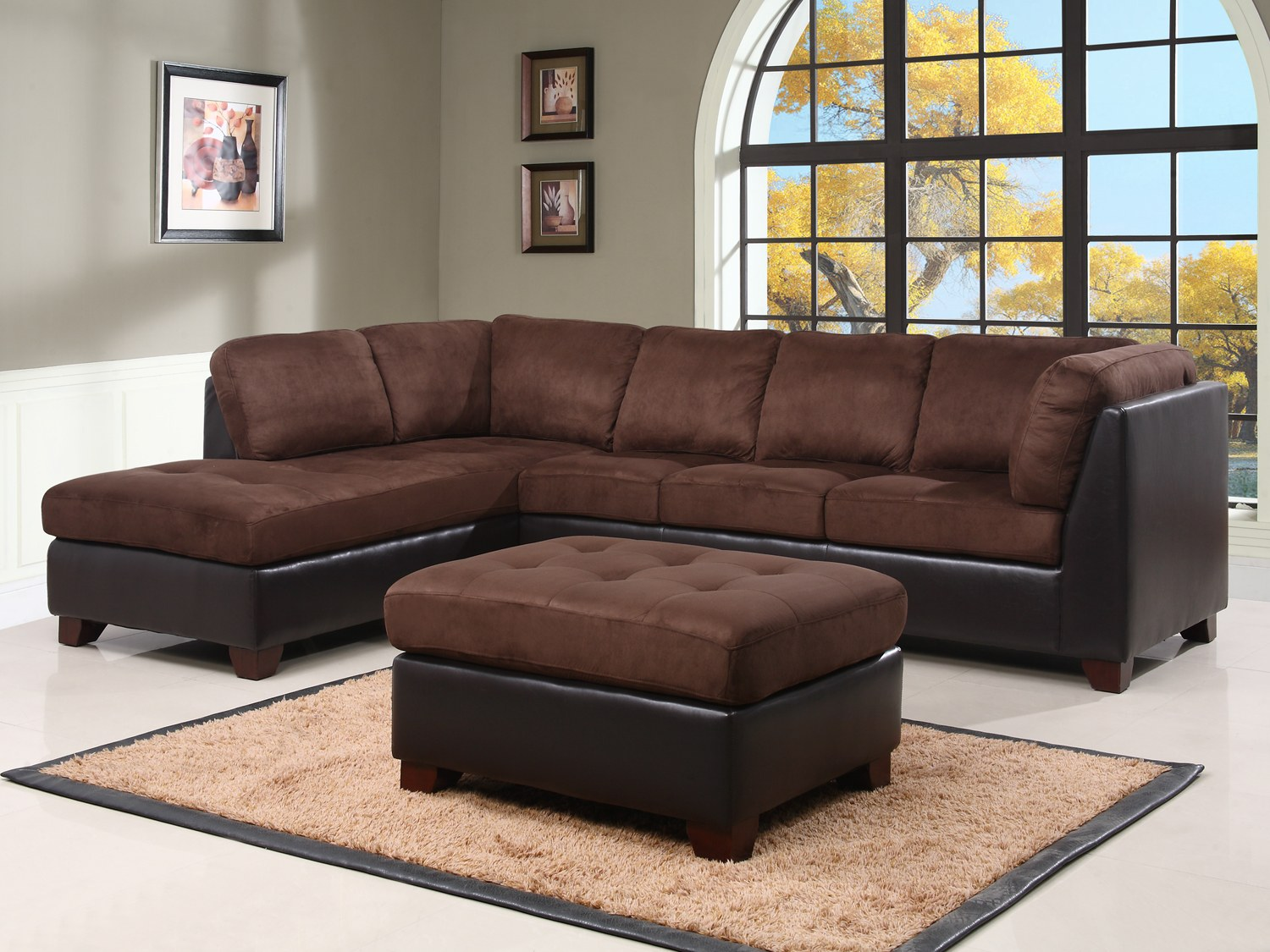 charlotte 2 pc sectional sofa set by abbyson living ci d107 brn