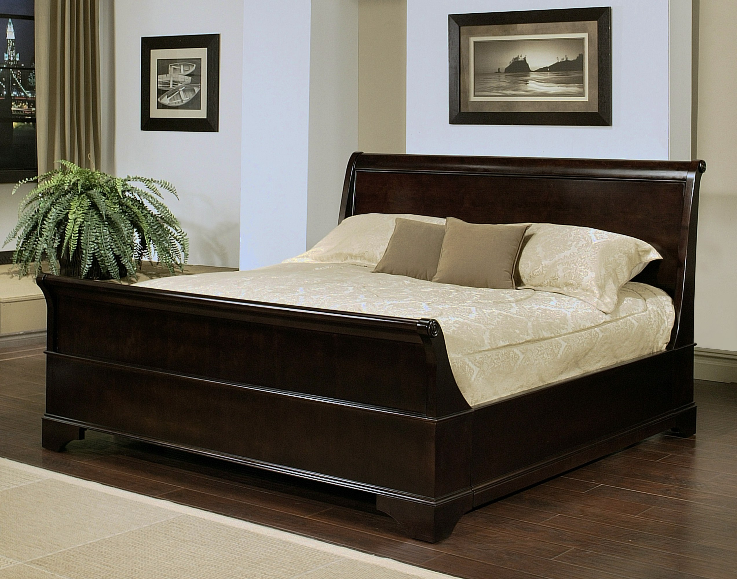 kingston sleigh bed by abbyson living hm 5050 0020. Black Bedroom Furniture Sets. Home Design Ideas