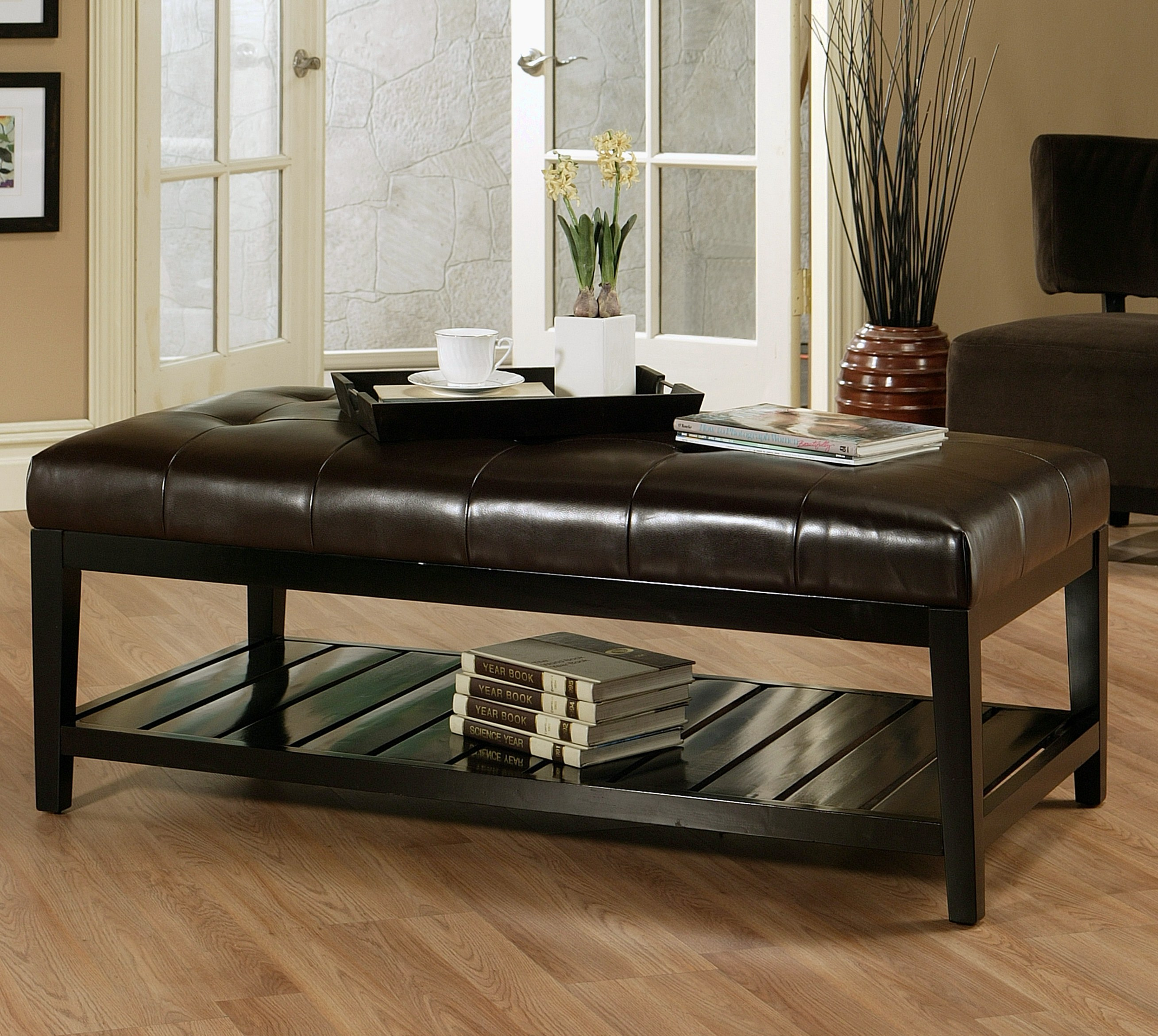 Manchester Tufted Leather Coffee Table By Abbyson Living Hs Ot 036 Brn