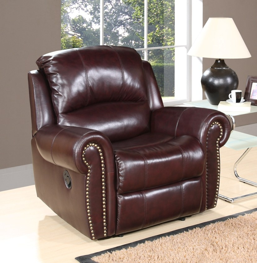 Broadway leather recliner by abbyson living ch 8811 brg 1 for Abbyson living sedona leather chaise recliner