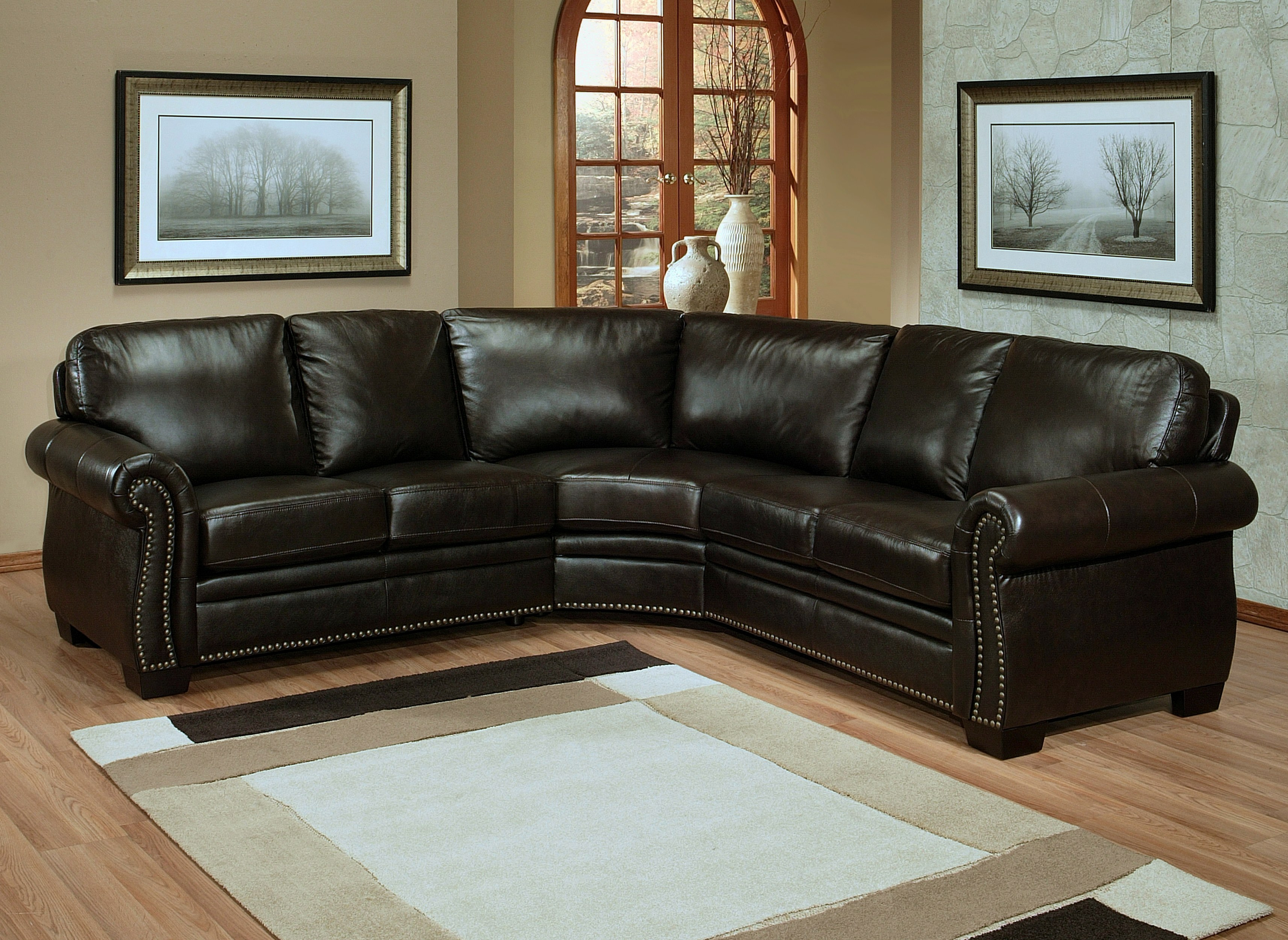 Oxford Leather Sectional Sofa By Abbyson Living CI N410 BRN