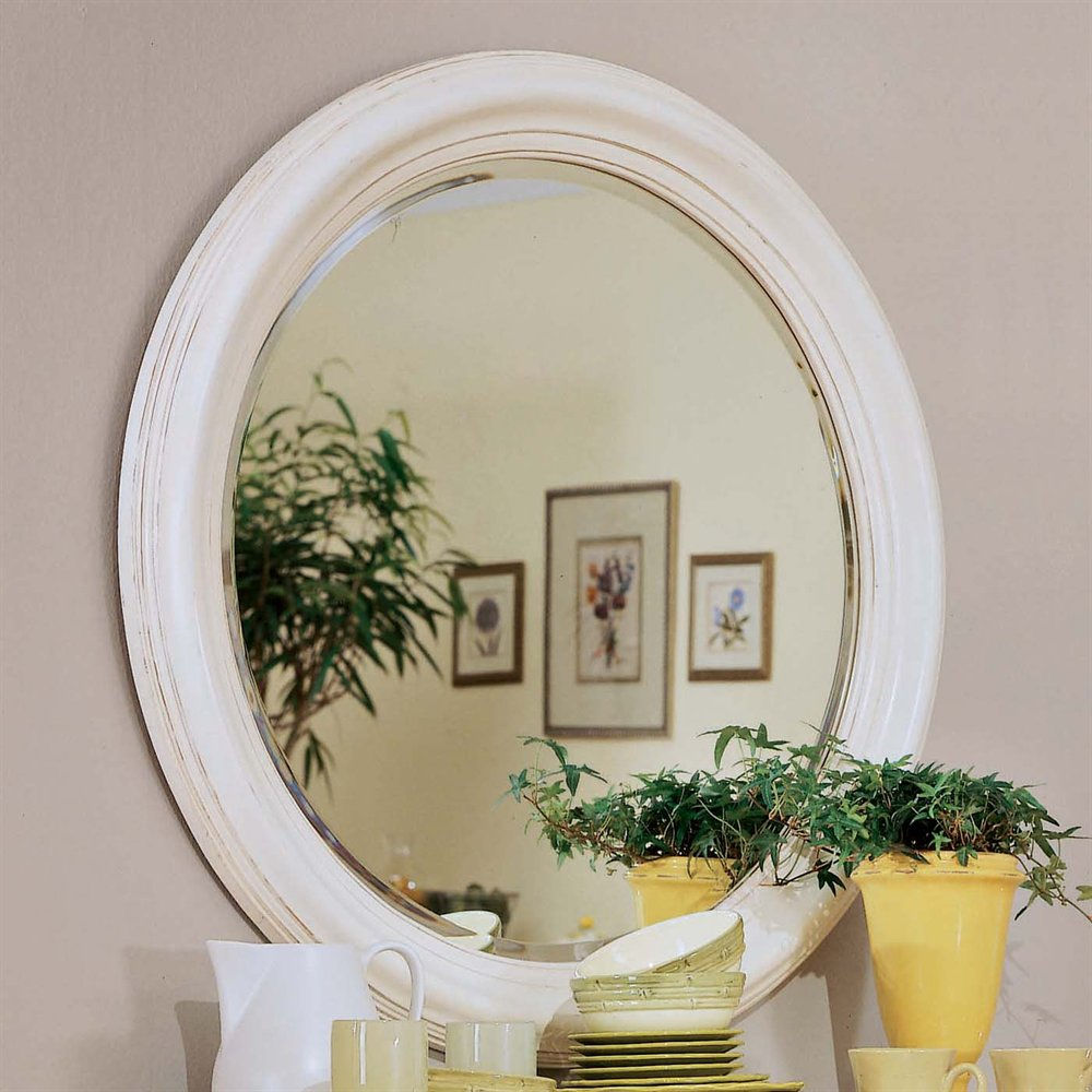 Camden Round Mirror With Creamy White Yellow Finish By