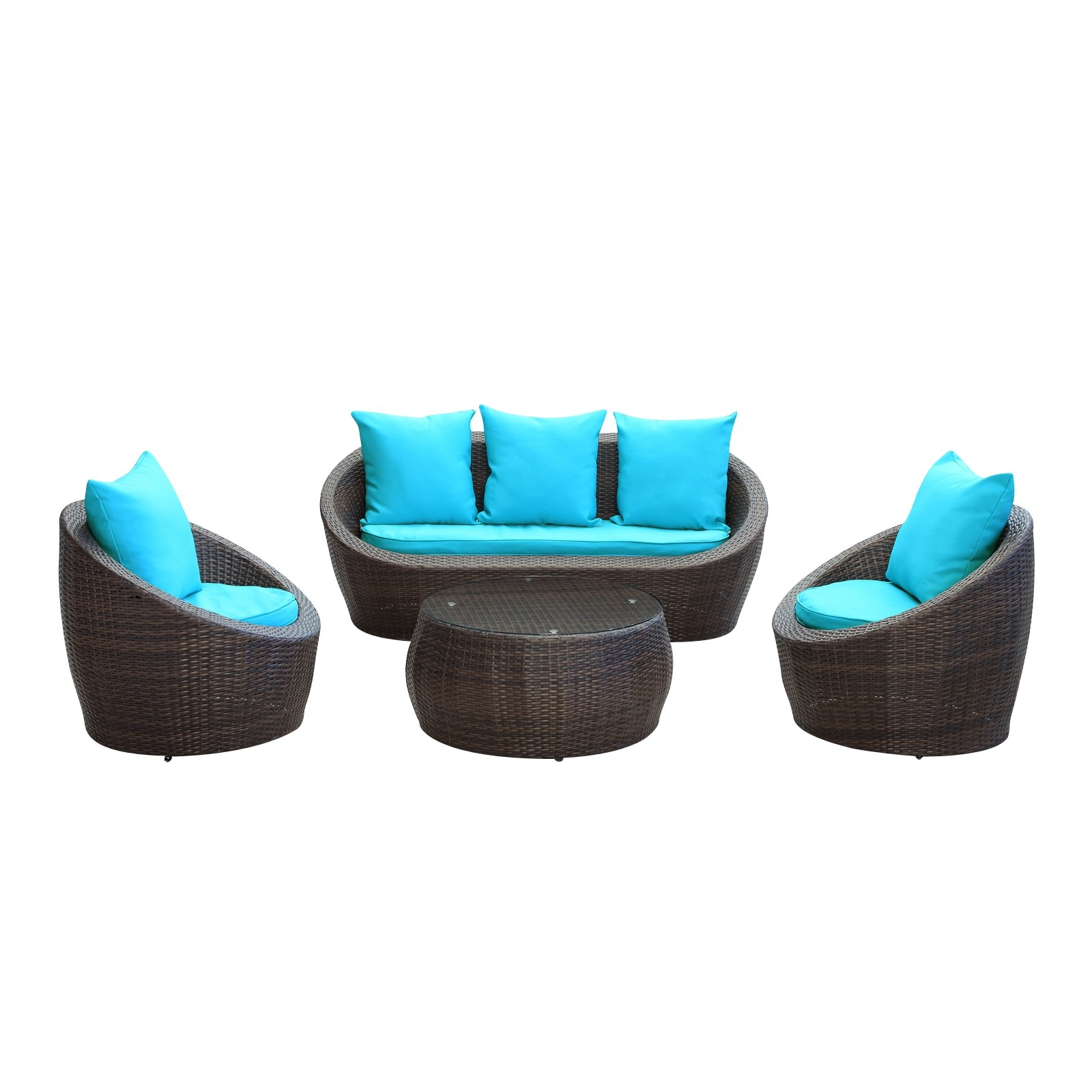 Avo Outdoor Wicker Patio 4-Pc Sofa Set In Brown With
