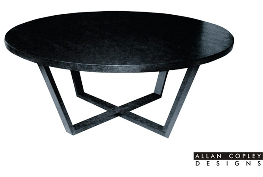 andy 54 round dining table in black on oak finish by allan copley