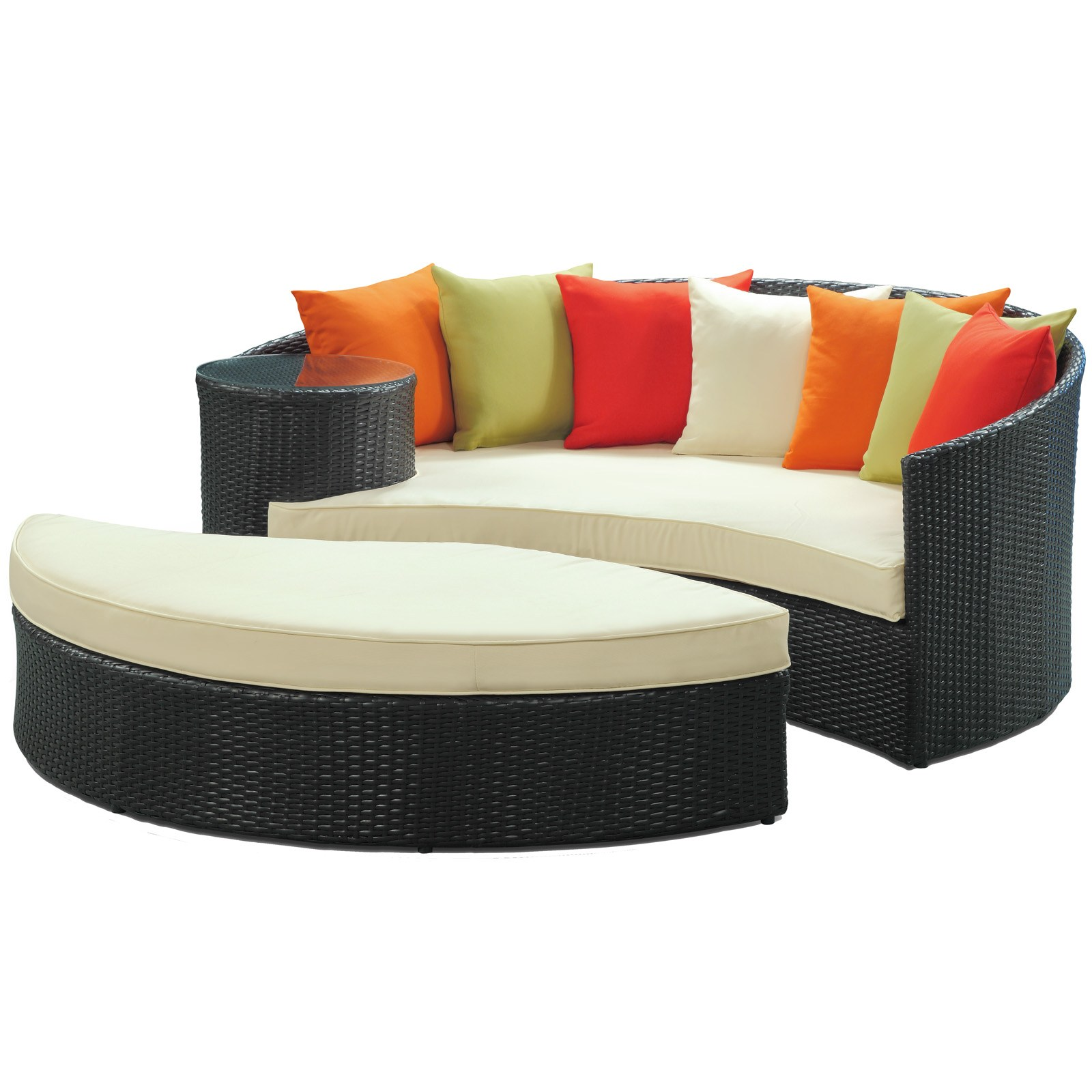 Taiji Outdoor Wicker Patio Daybed with Ottoman in Espresso