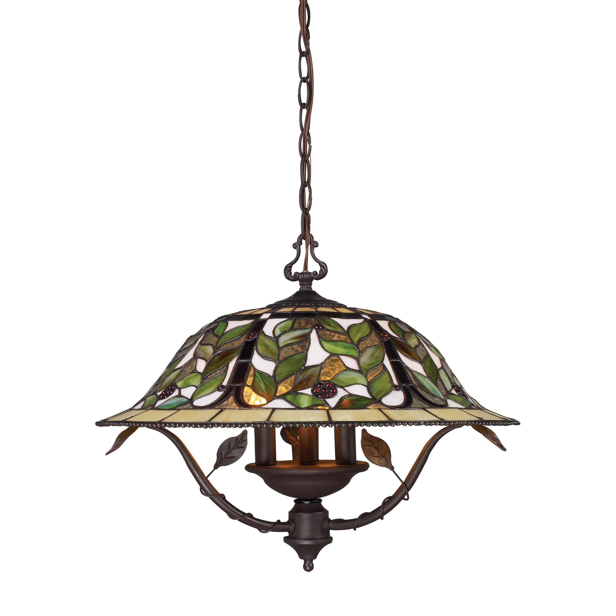 Latham 3 Light Chandelier In Tiffany Bronze W Highlight