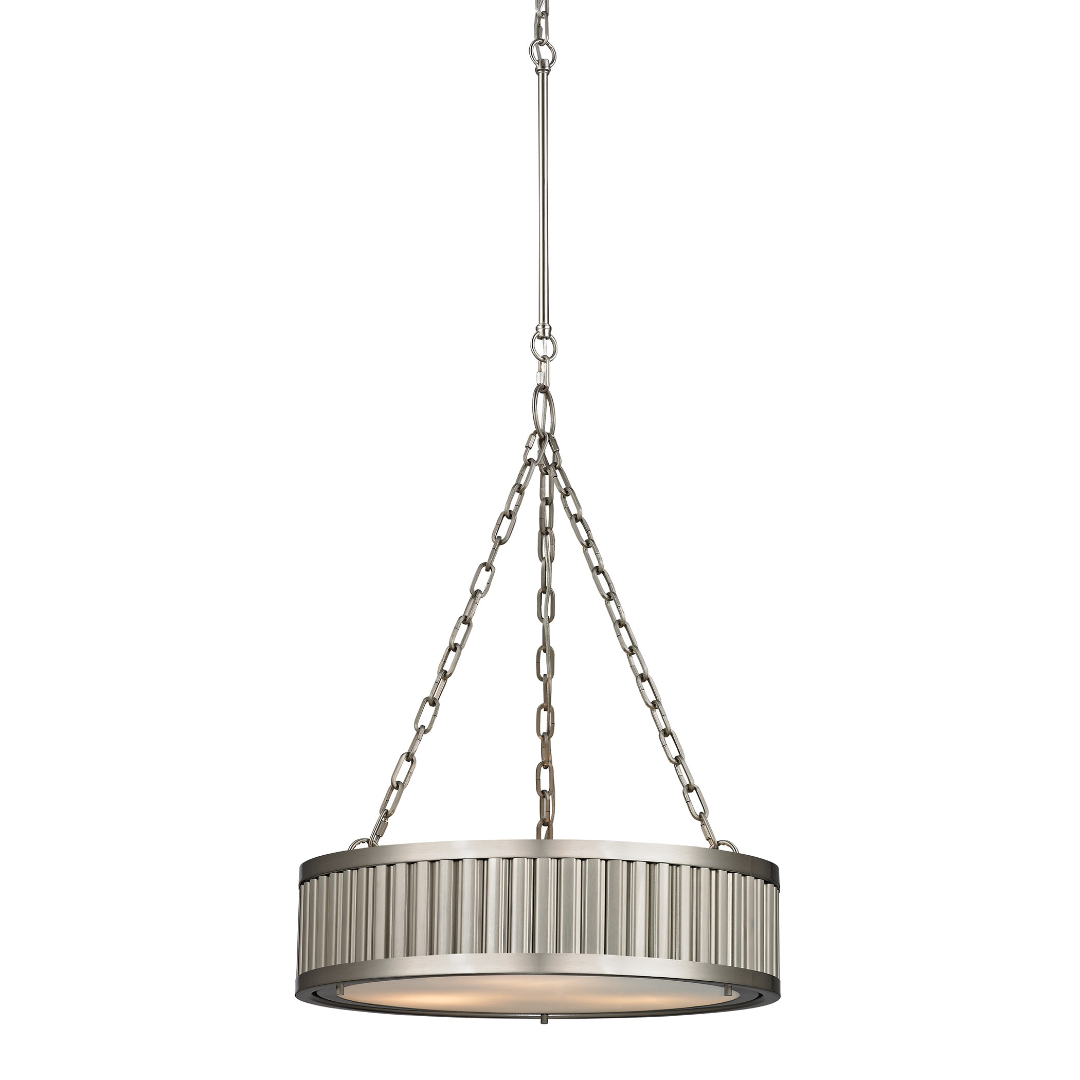Linden Collection 3 Light Pendant In Brushed Nickel By Elk