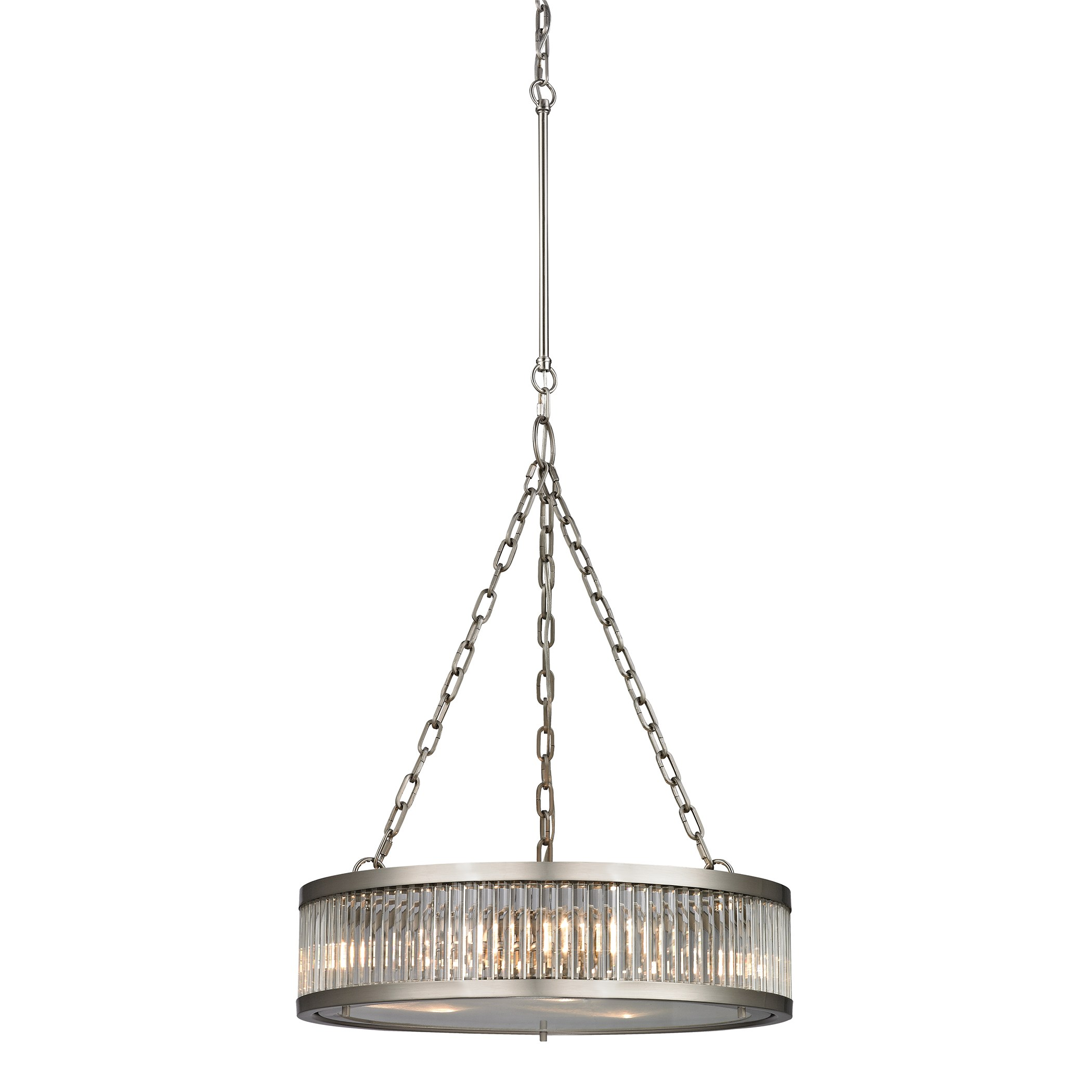 linden collection 3 light pendant in brushed nickel by elk. Black Bedroom Furniture Sets. Home Design Ideas