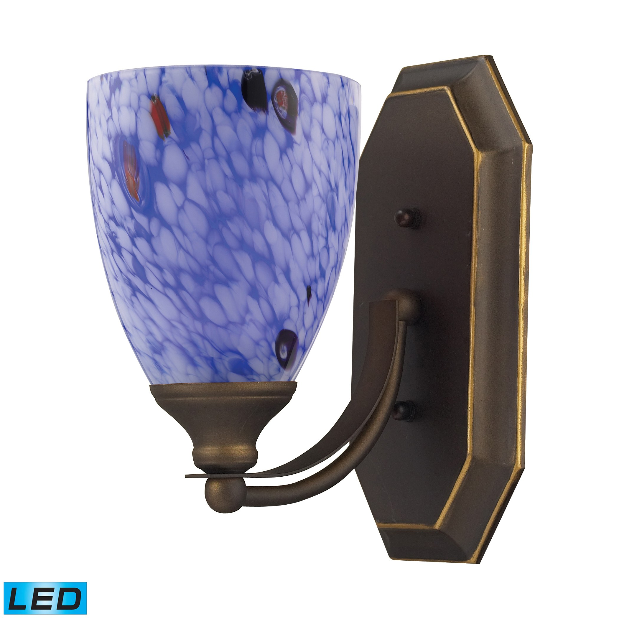 Blue Glass Vanity Light : 1 Light Vanity In Aged Bronze And Starburst Blue Glass by Elk Lighting