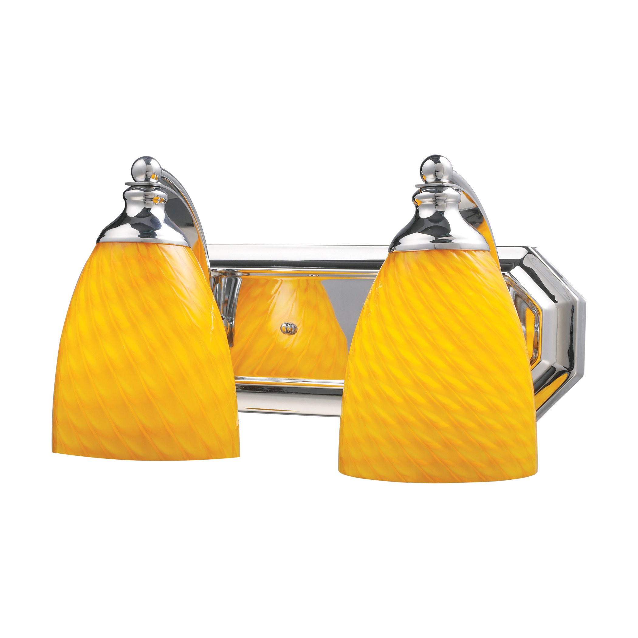2 Light Vanity In Polished Chrome And Canary Glass By Elk