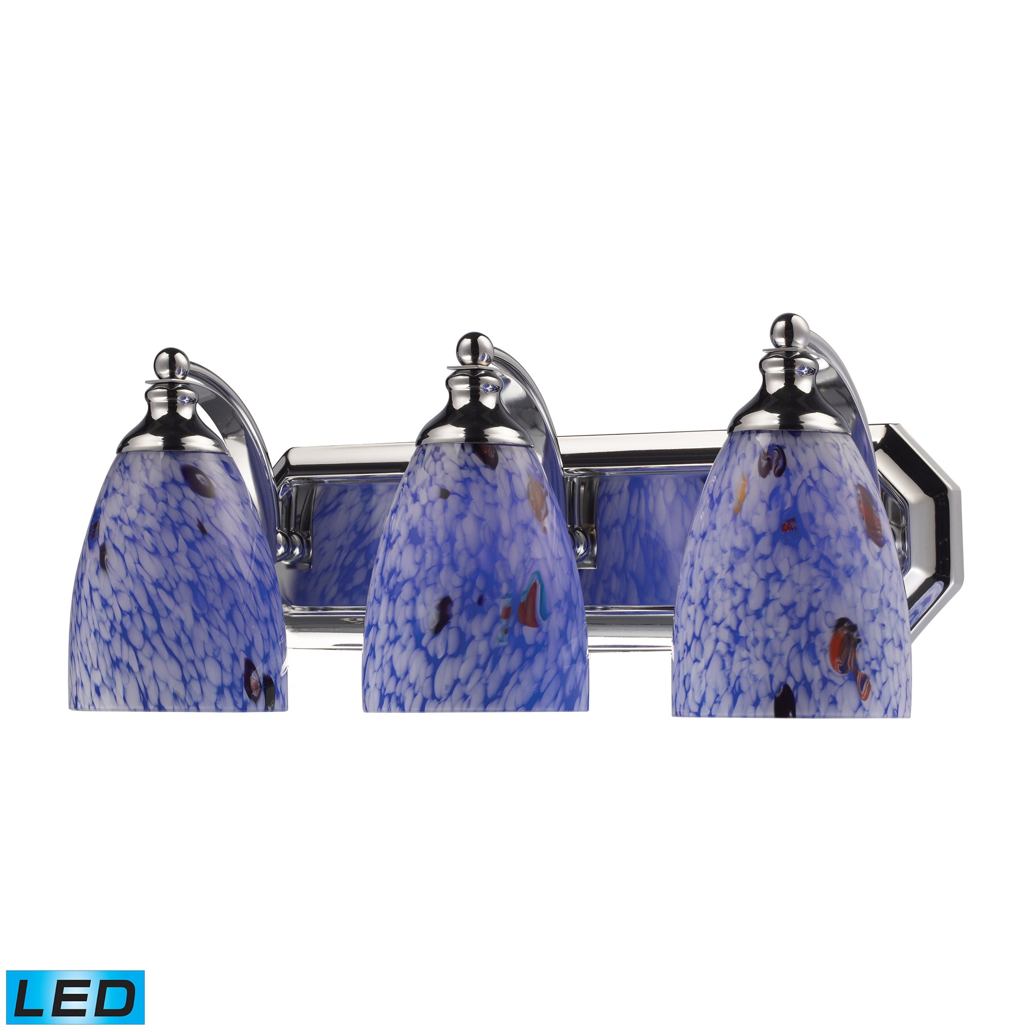Blue Glass Vanity Light : 3 Light Vanity In Polished Chrome And Starburst Blue Glass by Elk Lighting