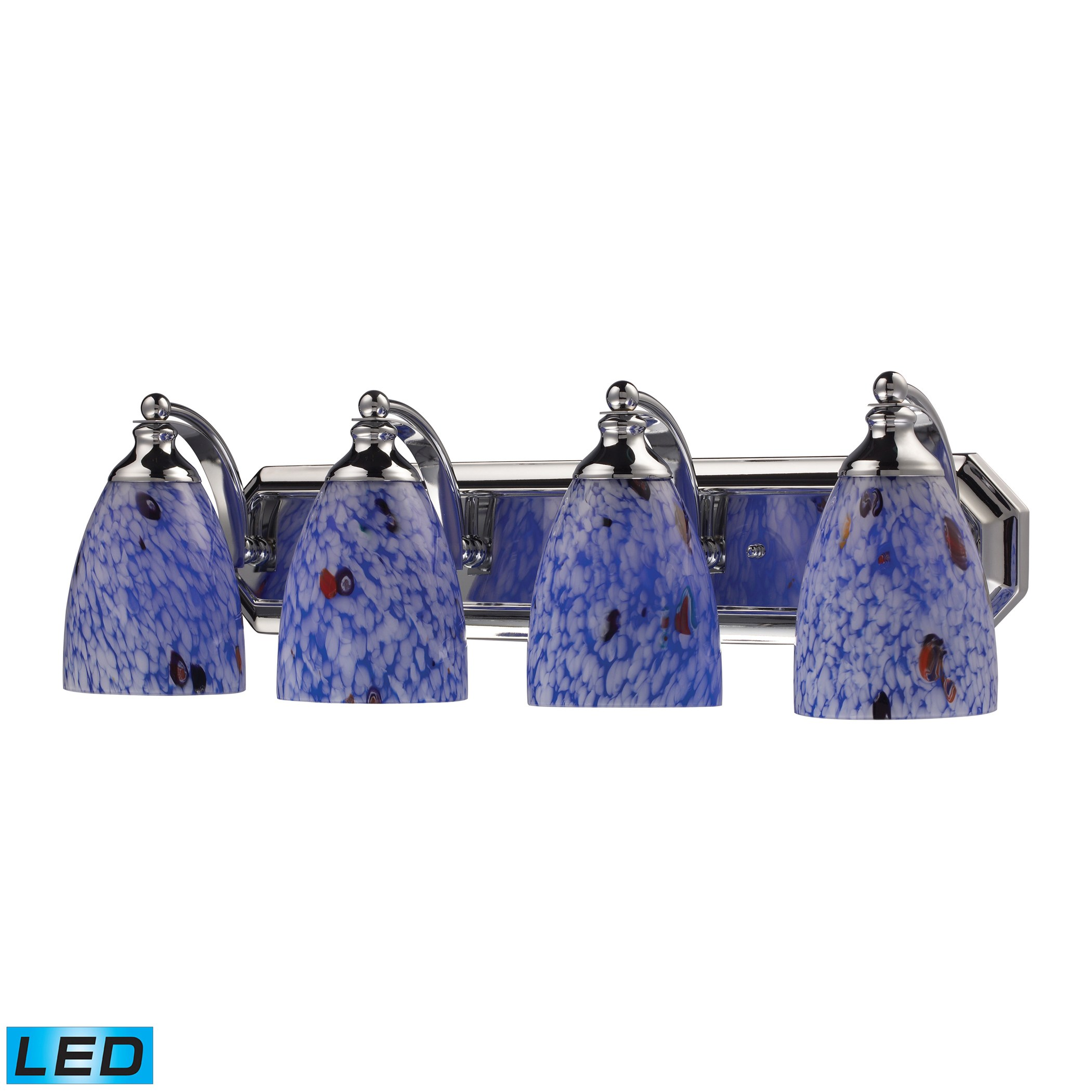 Blue Glass Vanity Light : 4 Light Vanity In Polished Chrome And Starburst Blue Glass by Elk Lighting