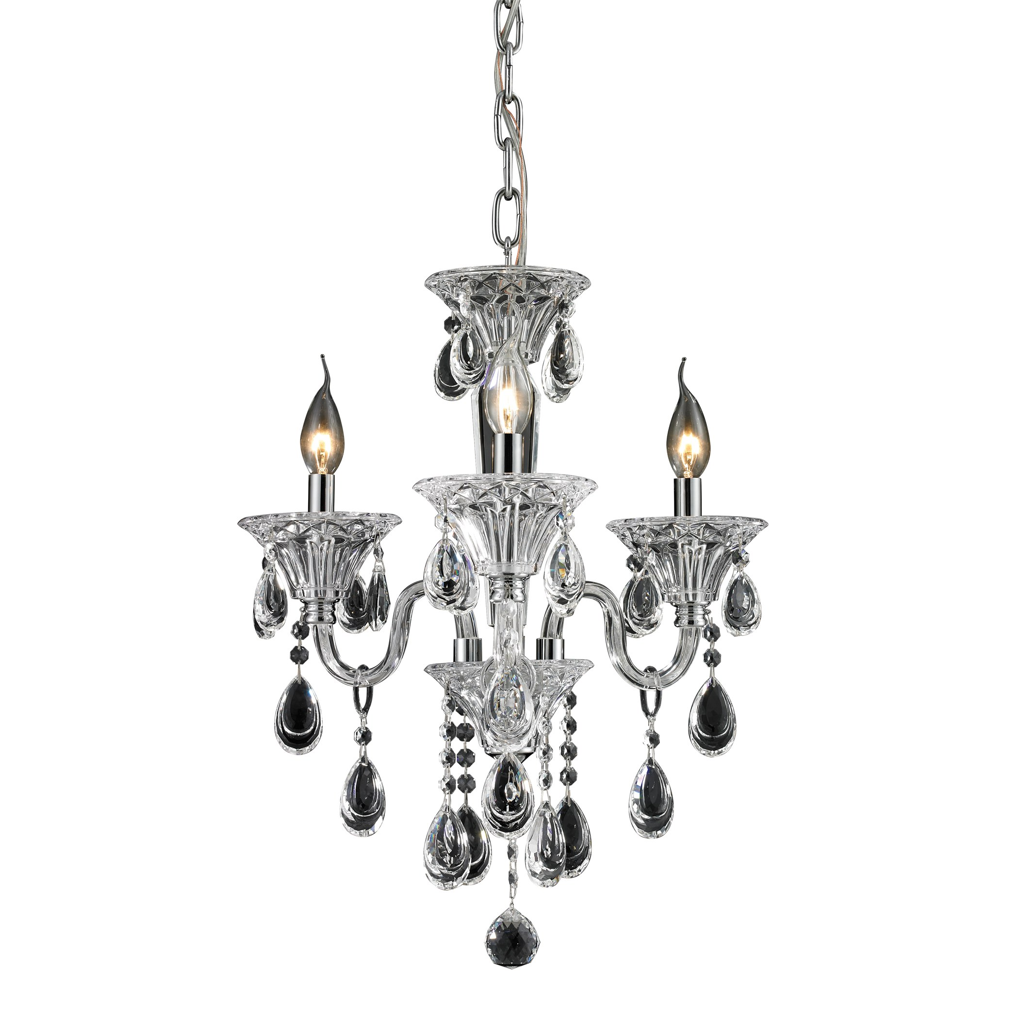 3 Light Crystal Chandelier In Clear Amp Chrome Finish By Elk