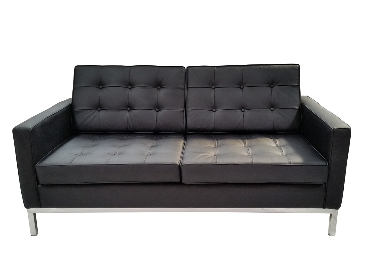 Soho Leather Loveseat In Black By Mid Century 61109 Blk