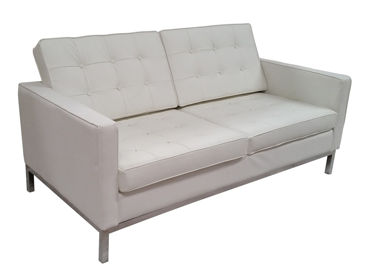 Soho Leather Loveseat In White By Mid Century 61109 Wht