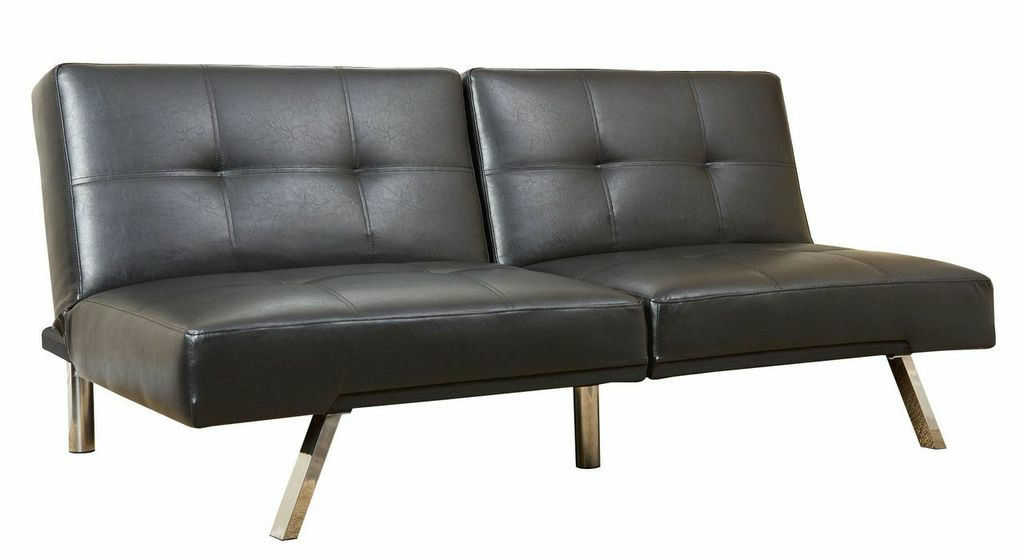 Jakarta bonded leather convertible sofa in black by for Sofa jakarta