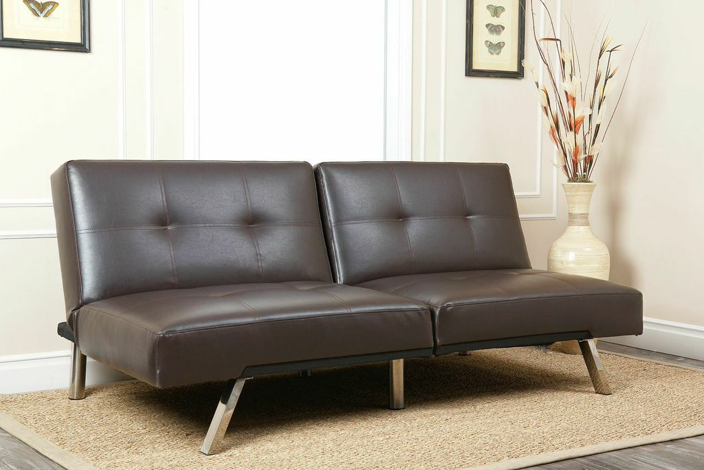 Jakarta bonded leather convertible sofa in dark brown by for Sofa jakarta