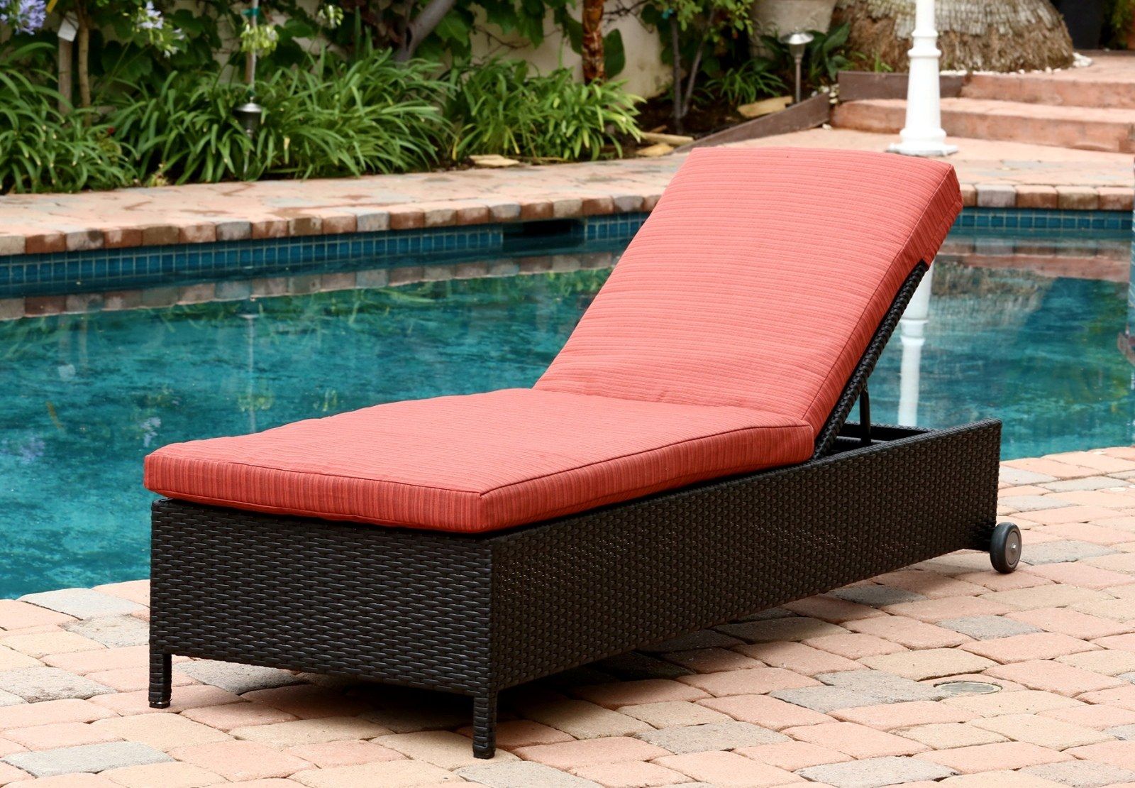 Ventura outdoor black wicker chaise lounge with cushion by for Black outdoor wicker chaise