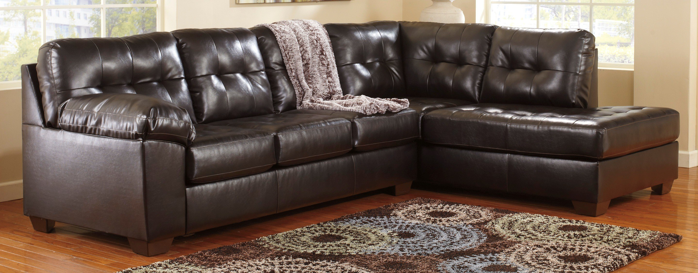 Signature Design By Ashley Alliston DB LAF Chocolate Sectional Sofa