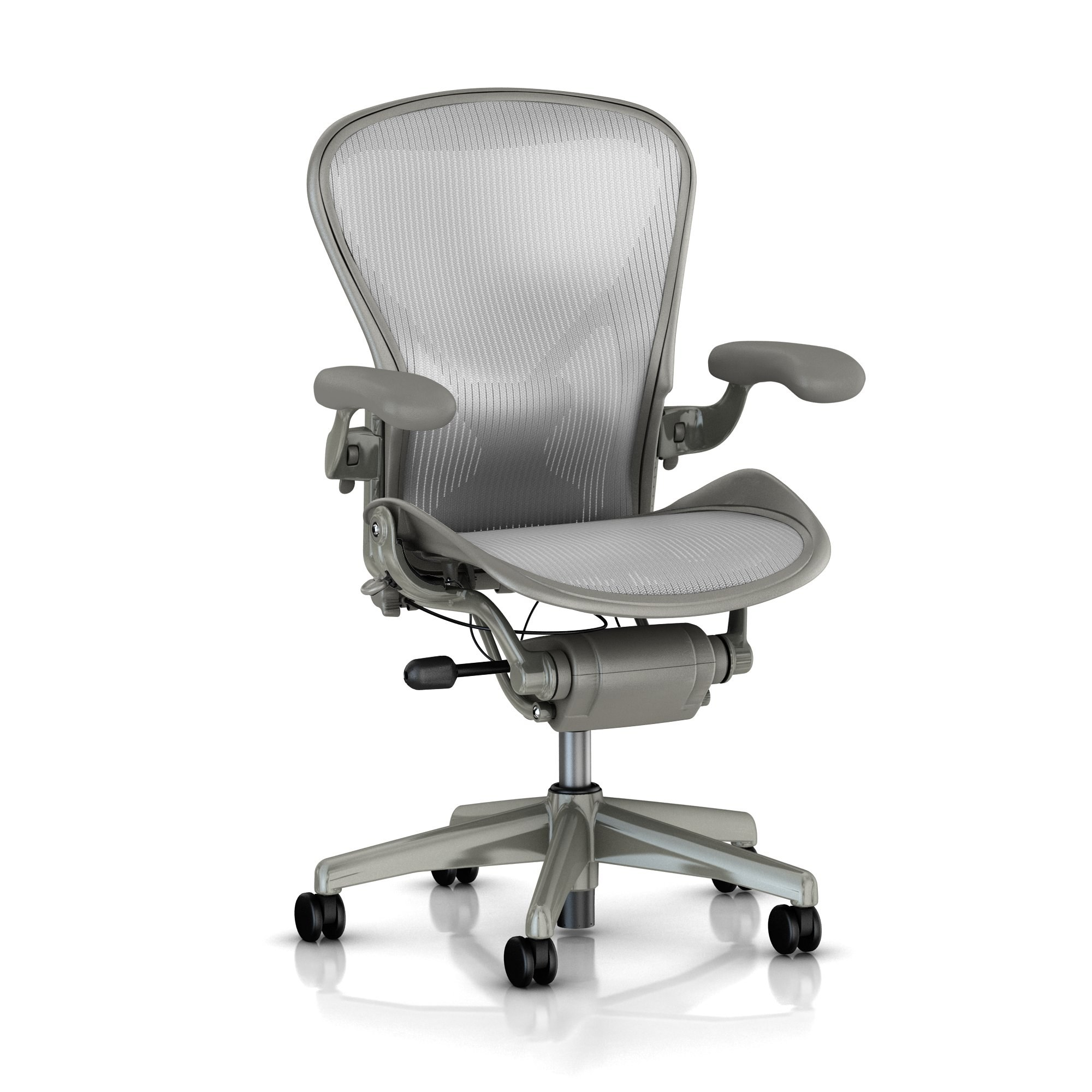Aeron Fully Loaded Adjustable Lumbar Titanium Open Box By Herman Miller