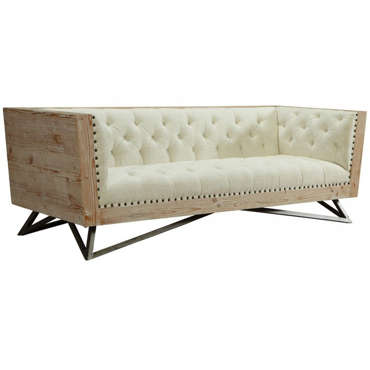 Magnificent Regis Cream Sofa With Pine Frame And Gunmetal Legs By Armen Living Caraccident5 Cool Chair Designs And Ideas Caraccident5Info
