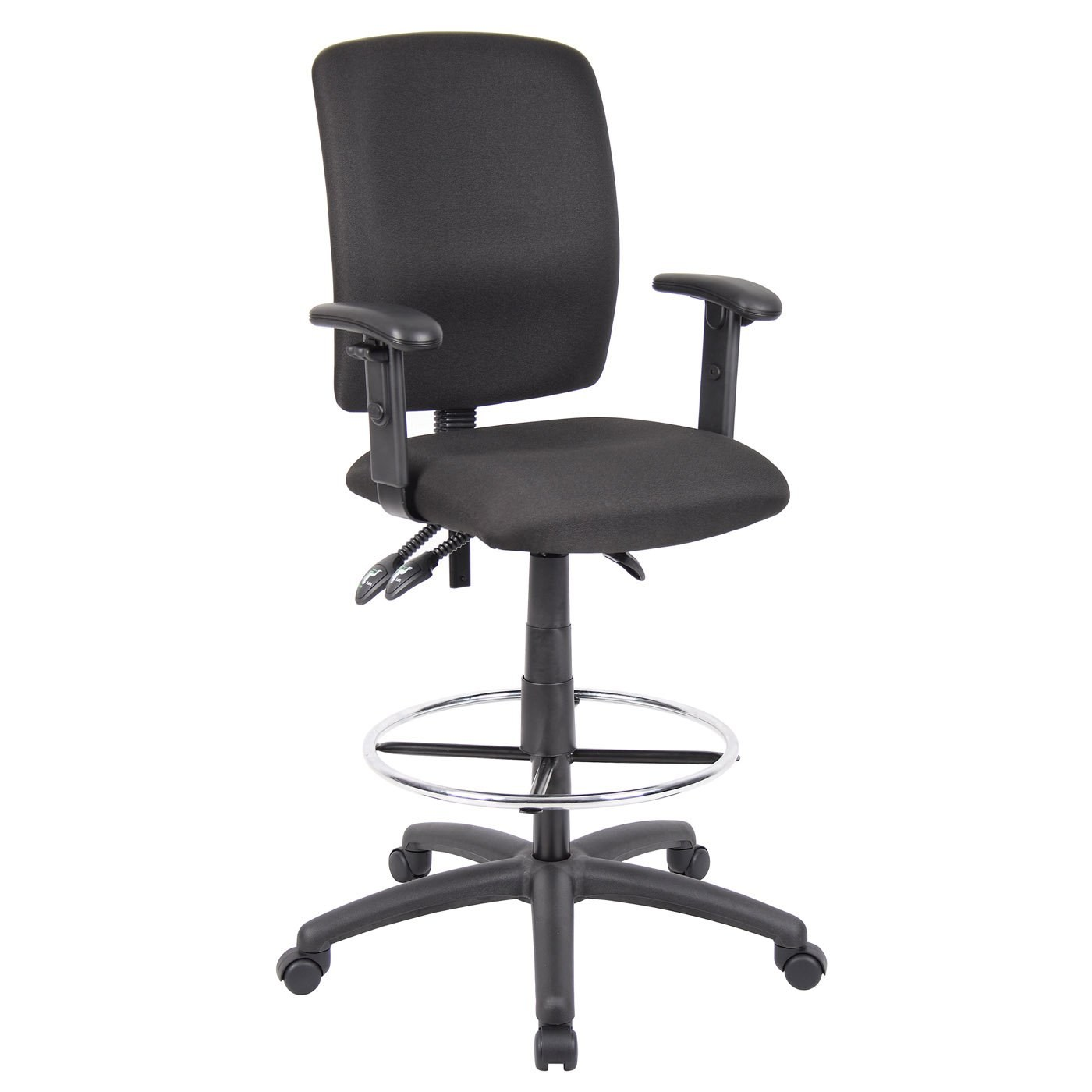 Drafting Stool With Adjustable Arms With Black Crepe