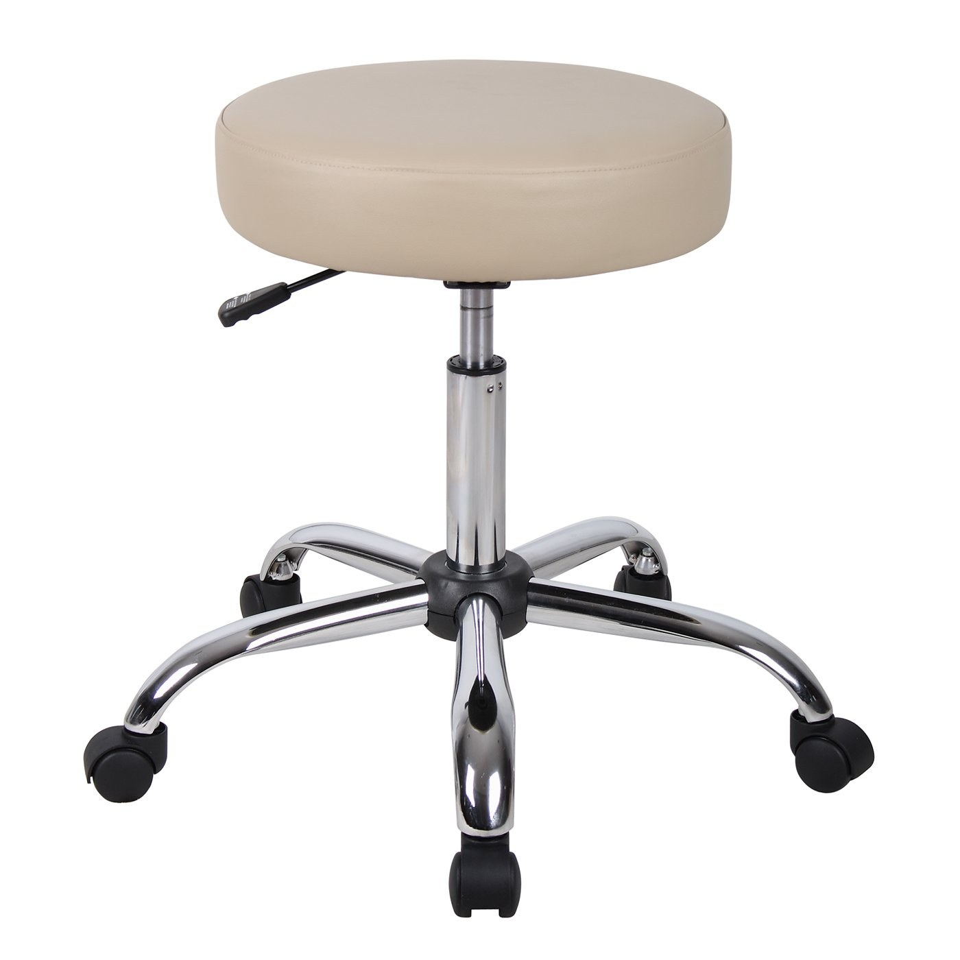 Backless Medical Stool With Beige Caressoft Upholstery By