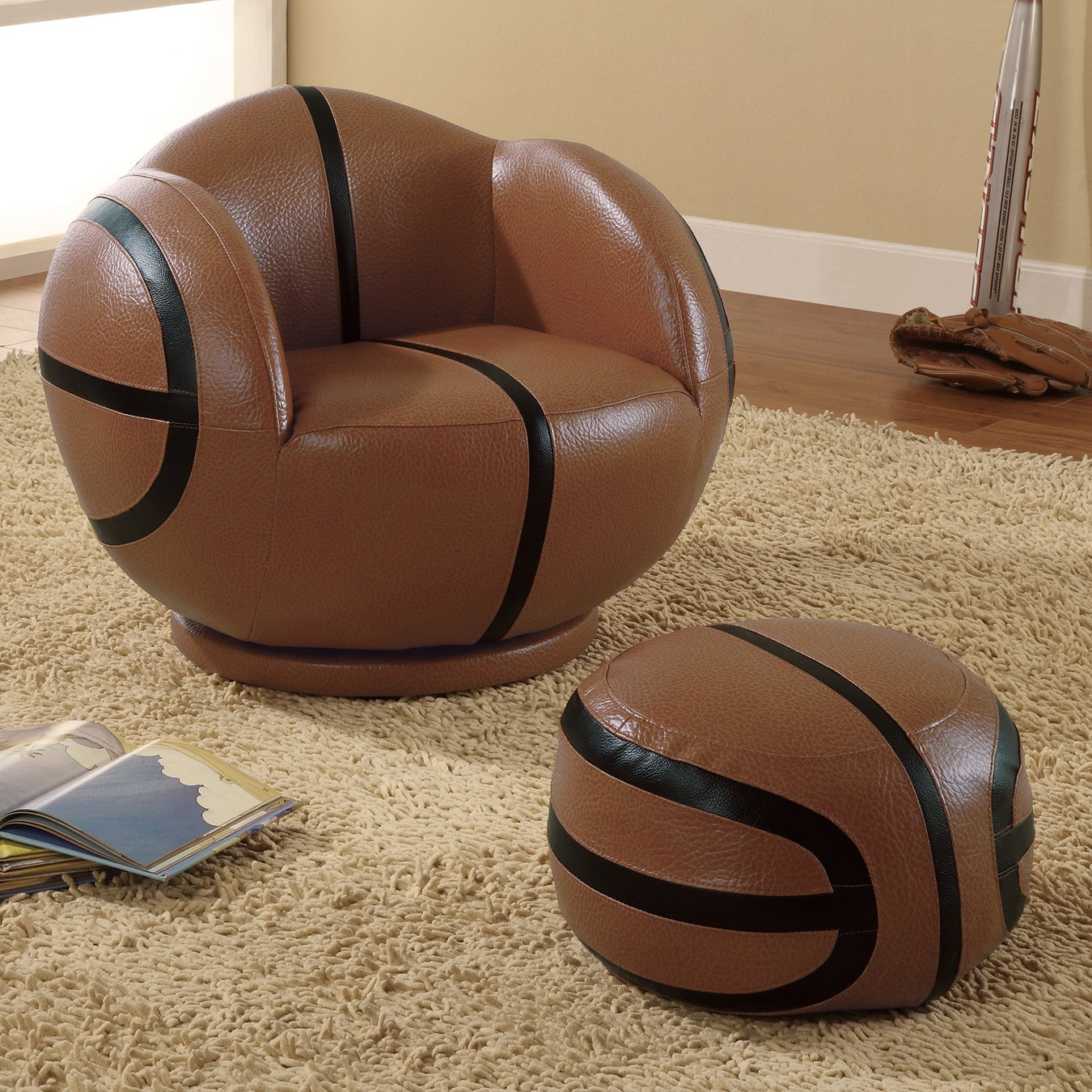 Fantastic Small Kids Sports Chair And Ottoman Set With Brown Black Vinyl Upholstery Basketball Theme By Coaster Fine Furniture Andrewgaddart Wooden Chair Designs For Living Room Andrewgaddartcom
