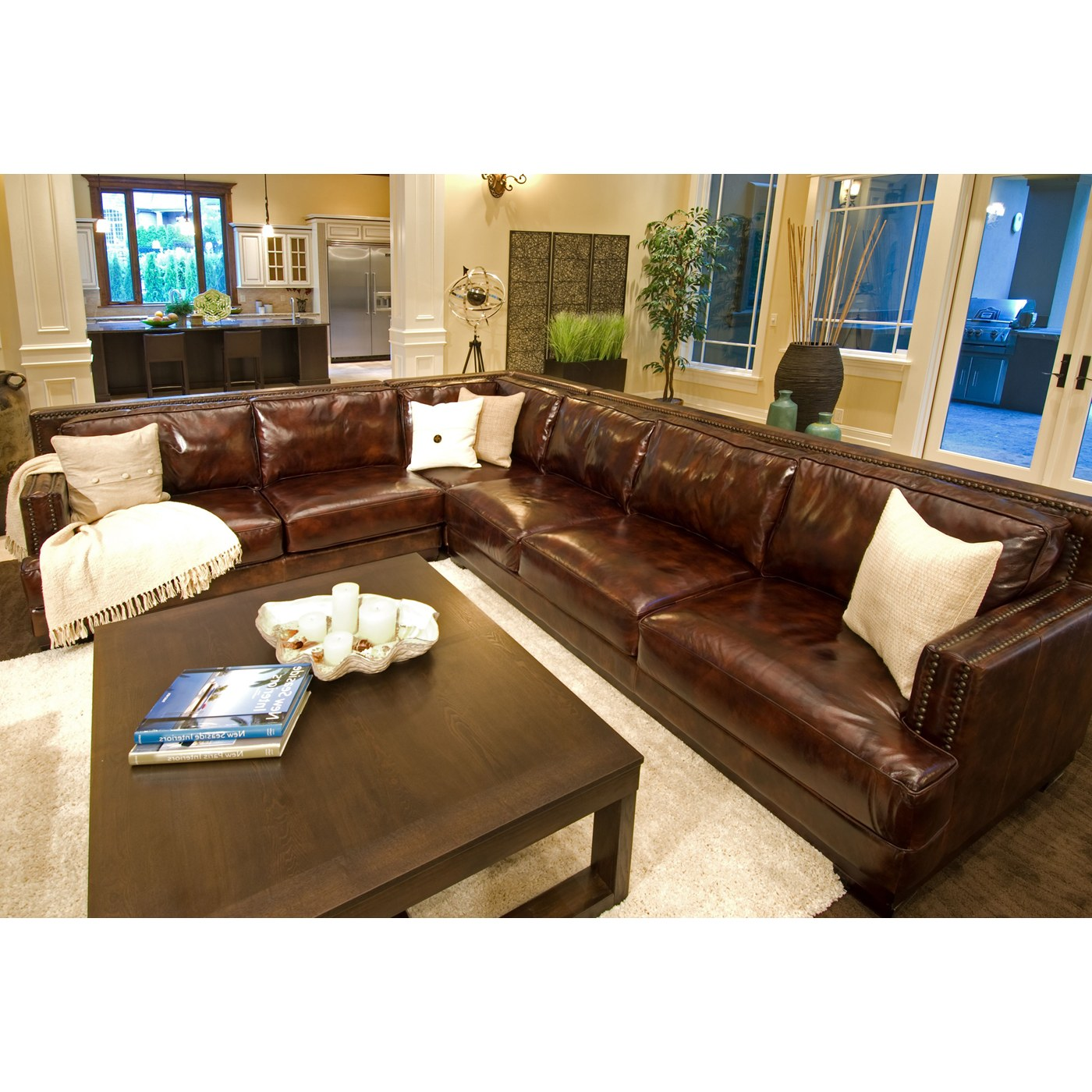 Easton Leather Sectional with Right Facing Orientation by Elements