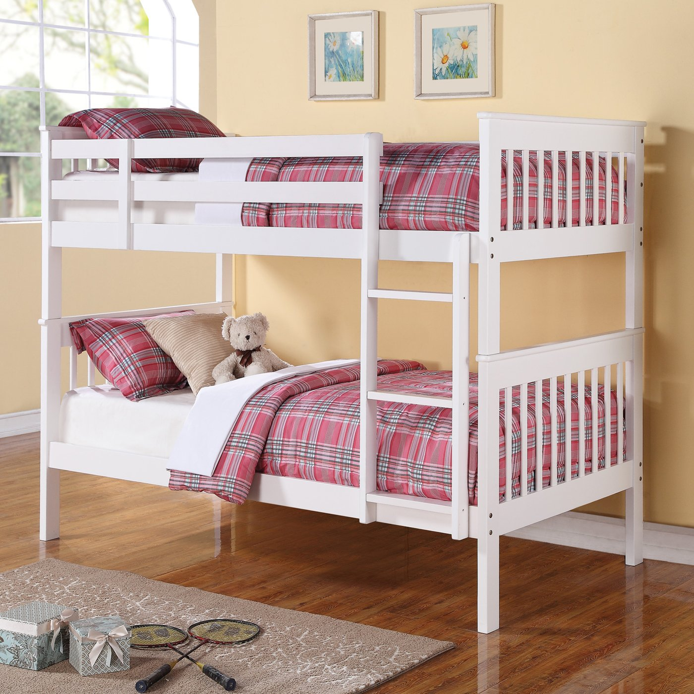 Twin Over Twin Bunk Bed With White Finish By Coaster Fine Furniture