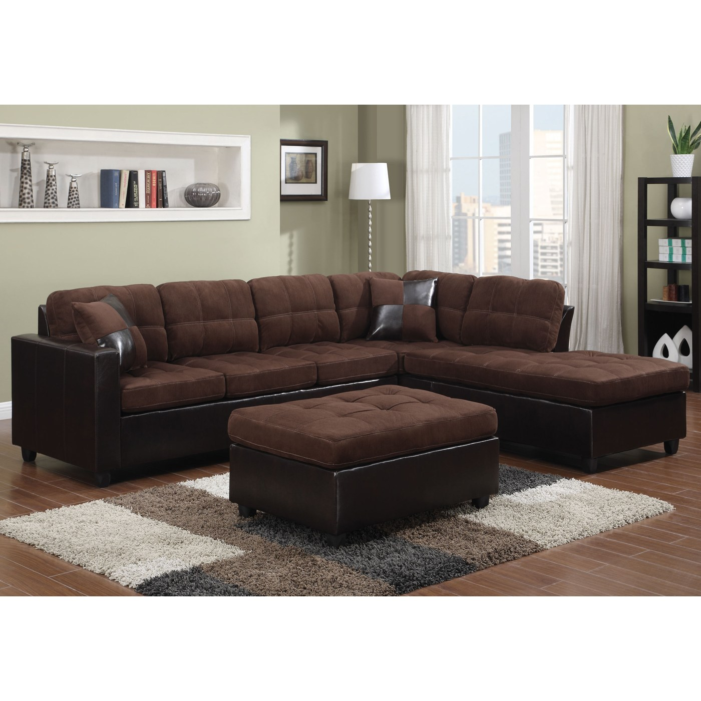 Brilliant Mallory Microfiber Sectional With Chocolate Microfiber Dark Brown Leather Like Vinyl Upholstery By Coaster Fine Furniture Uwap Interior Chair Design Uwaporg