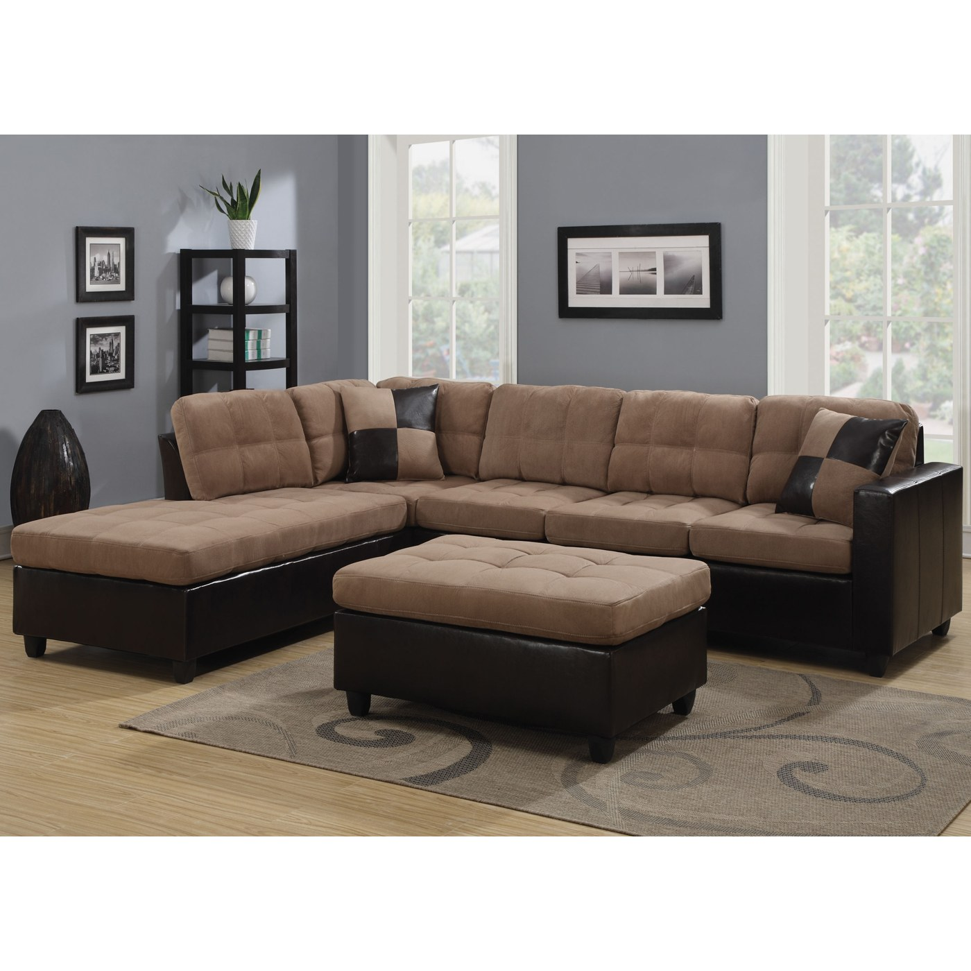 Enjoyable Mallory Microfiber Sectional With Tan Microfiber Dark Brown Leather Like Vinyl Upholstery By Coaster Fine Furniture Uwap Interior Chair Design Uwaporg