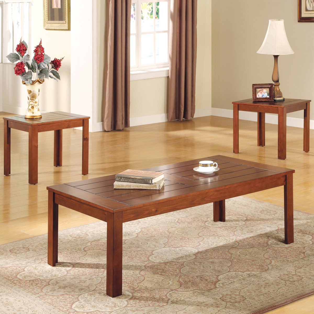 Three Piece Coffee Table Set By Coaster Fine Furniture