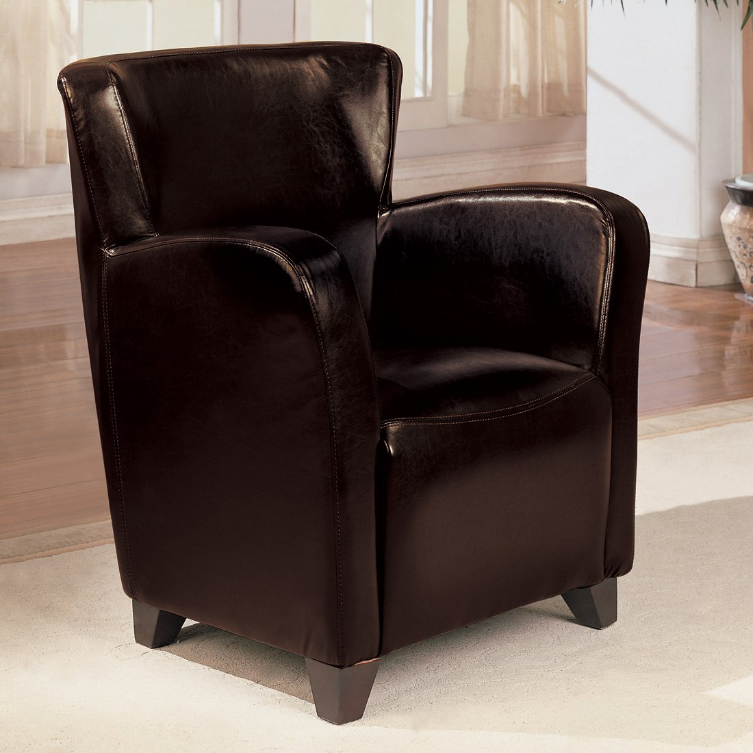 Accent chair with brown leather like vinyl upholstery by for Accent chair with brown leather sofa
