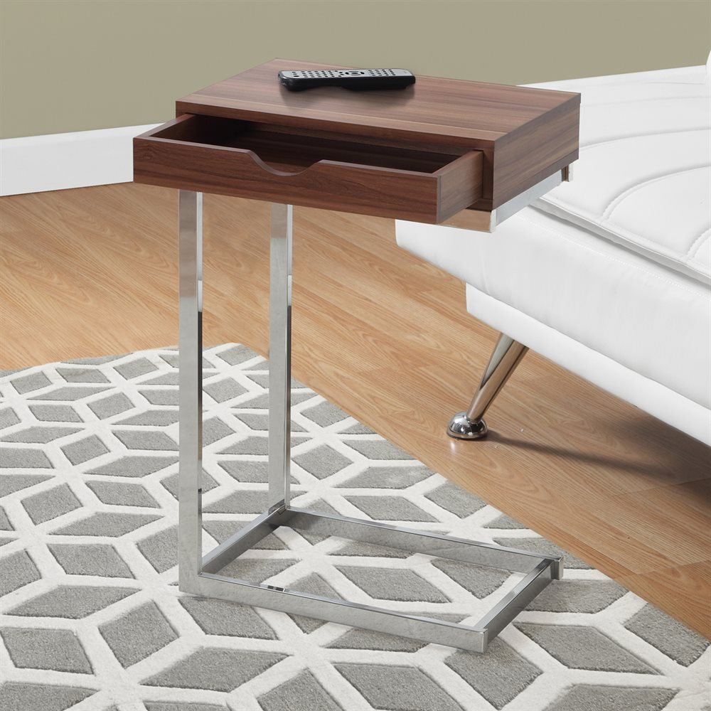 Accent Table With Drawer With Chrome Frame Finish And