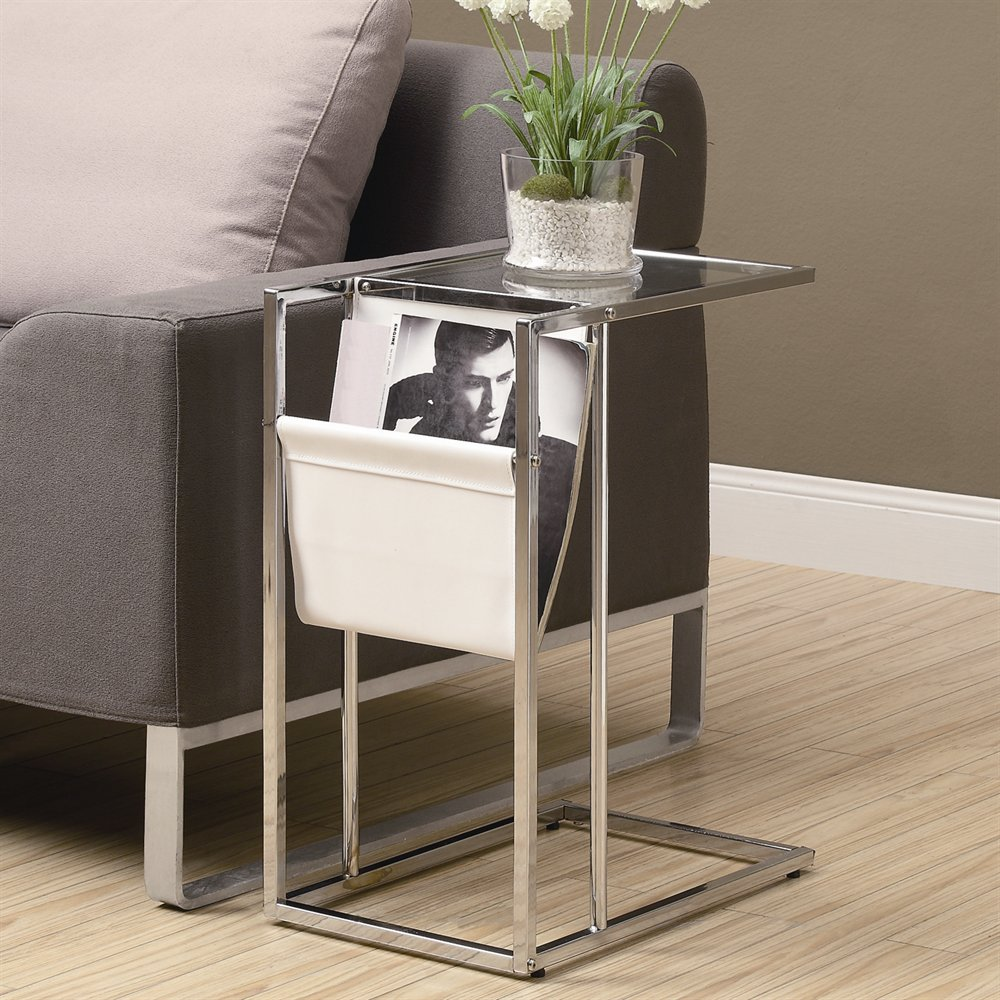 Accent Table With Magazine Holder With Chrome White Finish