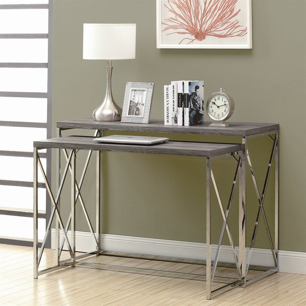 desk in small bedroom nesting console table set with taupe reclaimed finish 15154