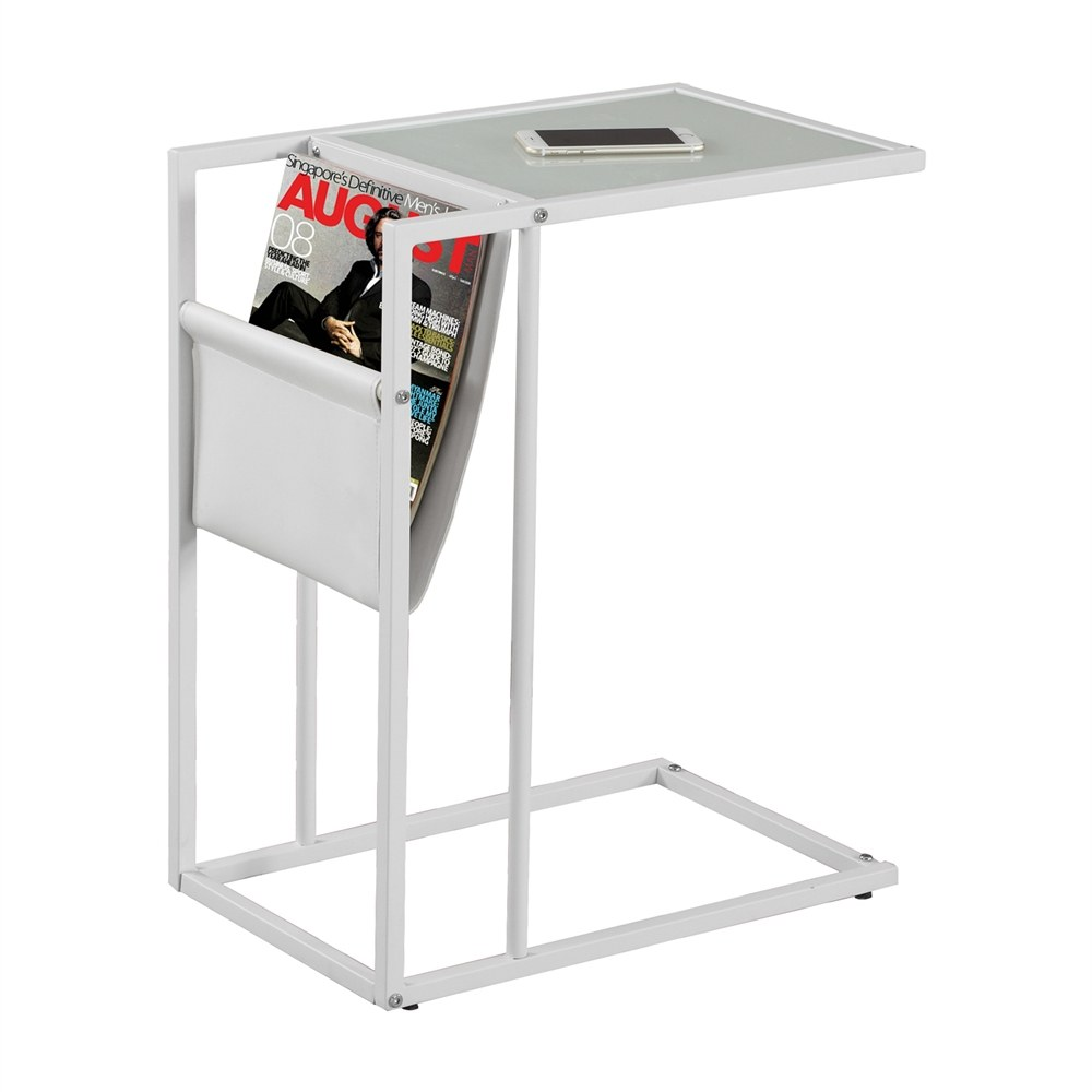 Accent Table With Magazine Holder With White Finish By