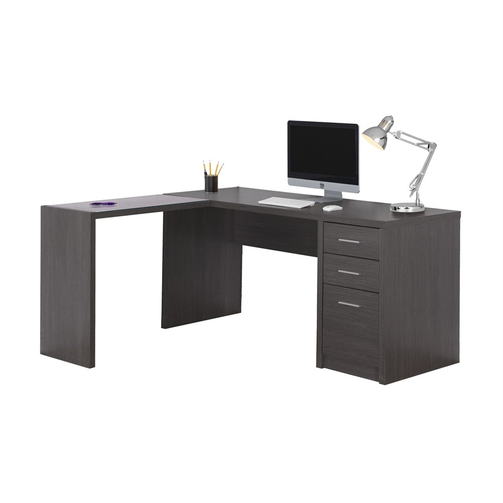 L Shaped Computer Desk With Dark Grey Finish By Monarch