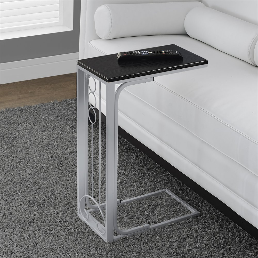 metal accent table with brushed silver black finish by monarch specialties. Black Bedroom Furniture Sets. Home Design Ideas
