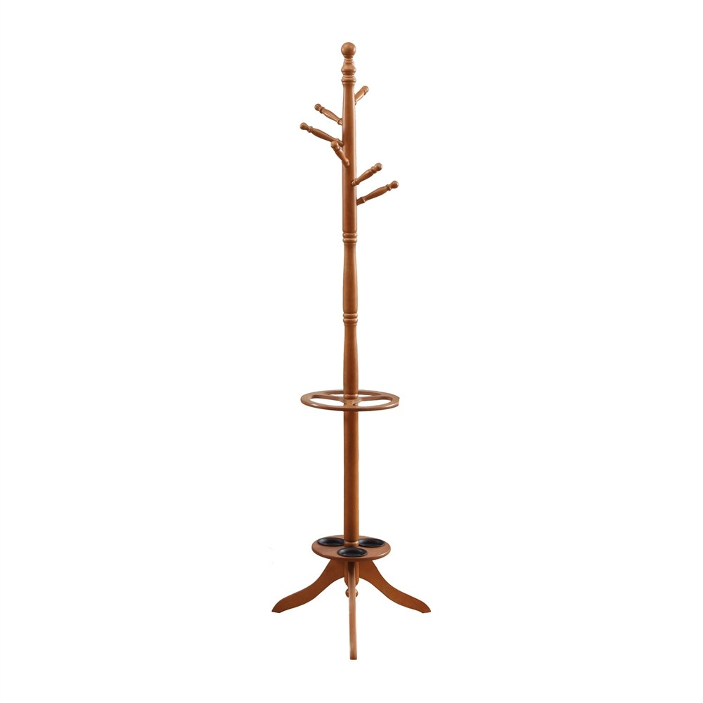 Coat Rack With Umbrella Holder With Oak Finish By Monarch