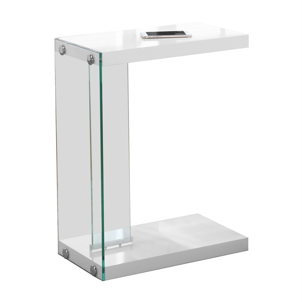Accent Table With Glossy White Finish By Monarch Specialties