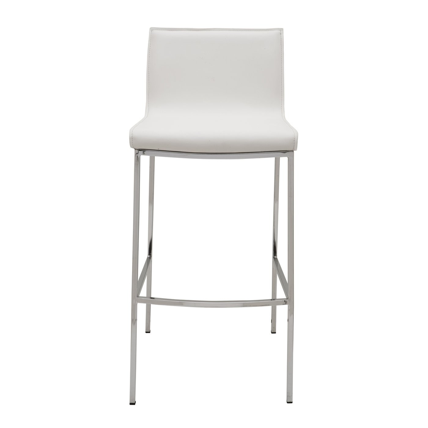 Colter Leather Counter Stool With White Leather Upholstery