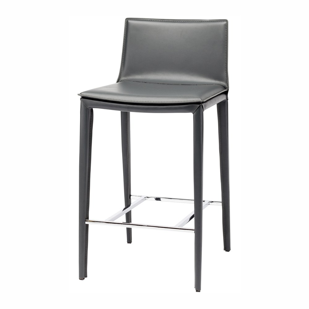 Palma Bar Stool With Grey Leather Upholstery 25 75 In