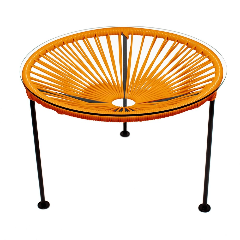 Zica outdoor end table in orange with black frame finish for Orange outdoor side table