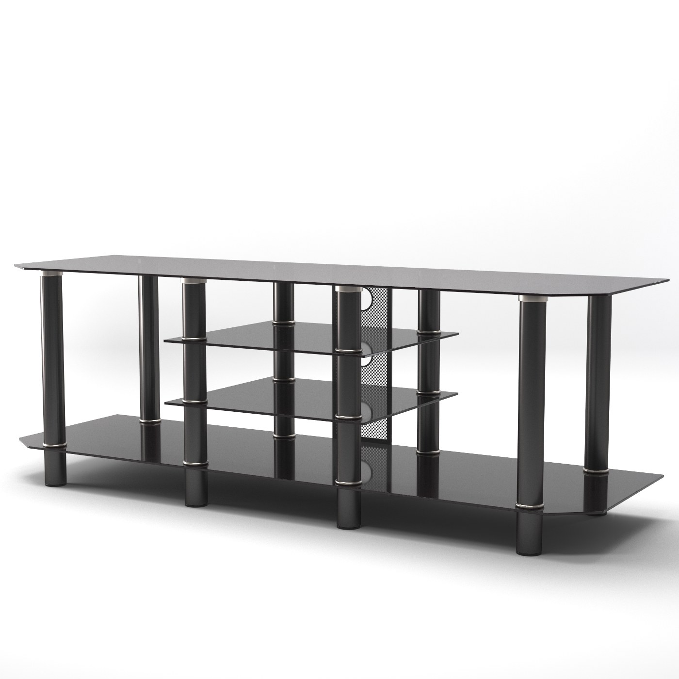 Salerno 60 Inch Glass Tv Stand In Black By Gibson Living Lr4006