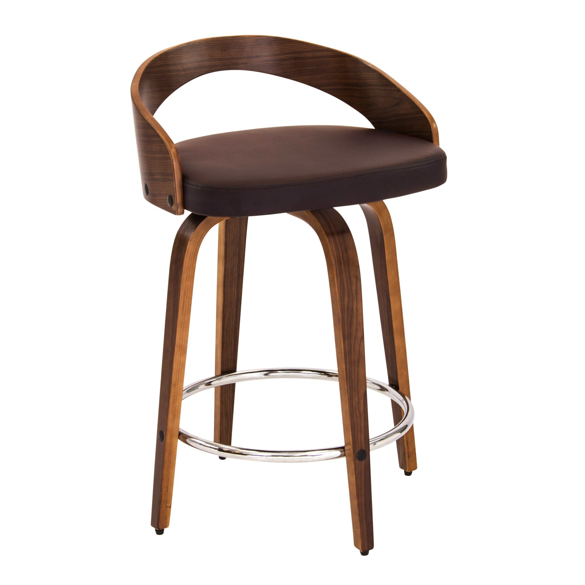 Grotto Counter Stool In Walnut Brown By Lumisource