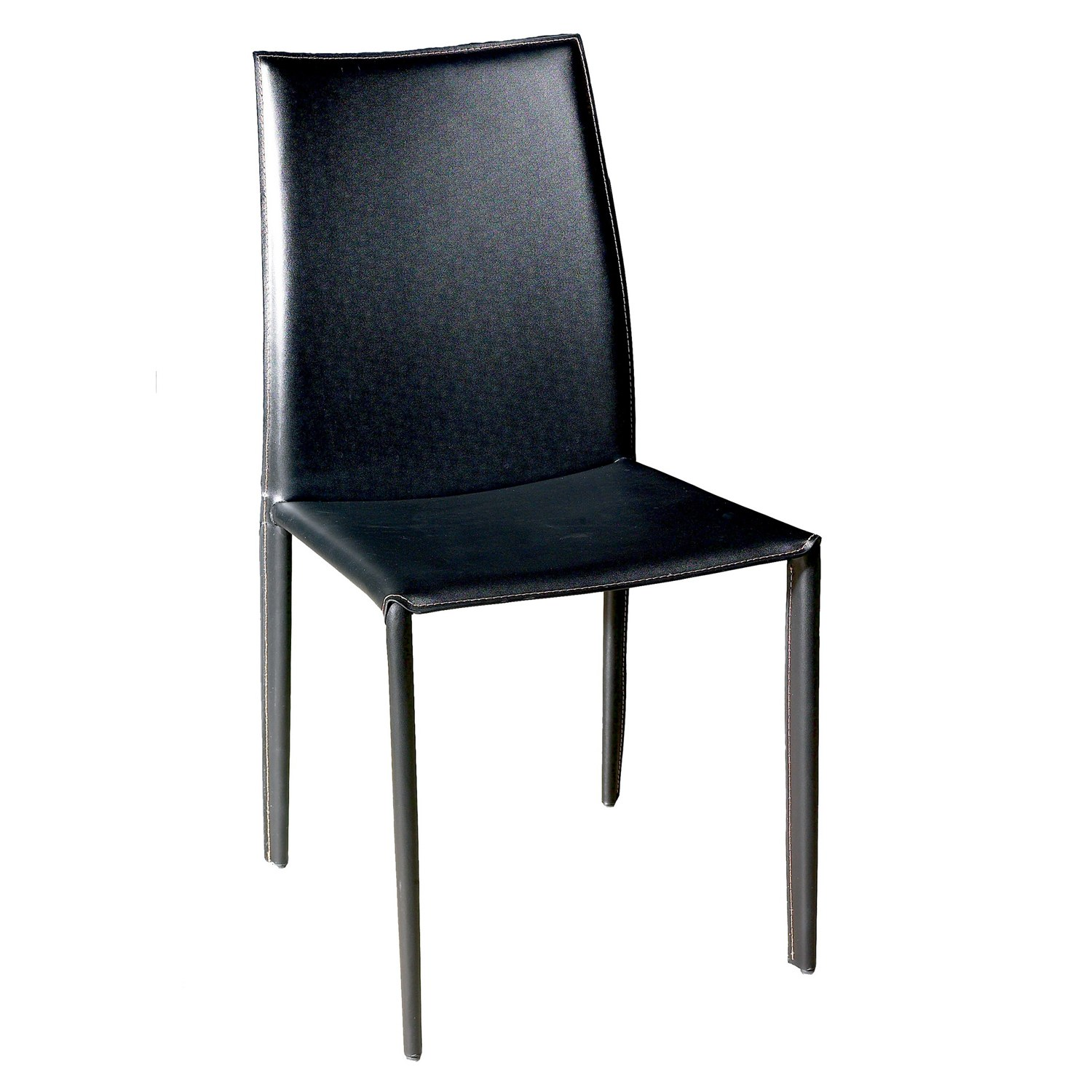 Baxton studio rockford modern and contemporary black for Modern black leather dining chairs